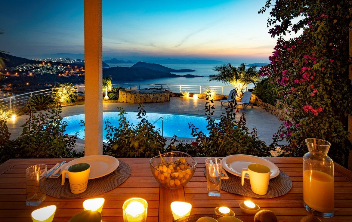 Views of the Aegean and Greek Islands from the villa