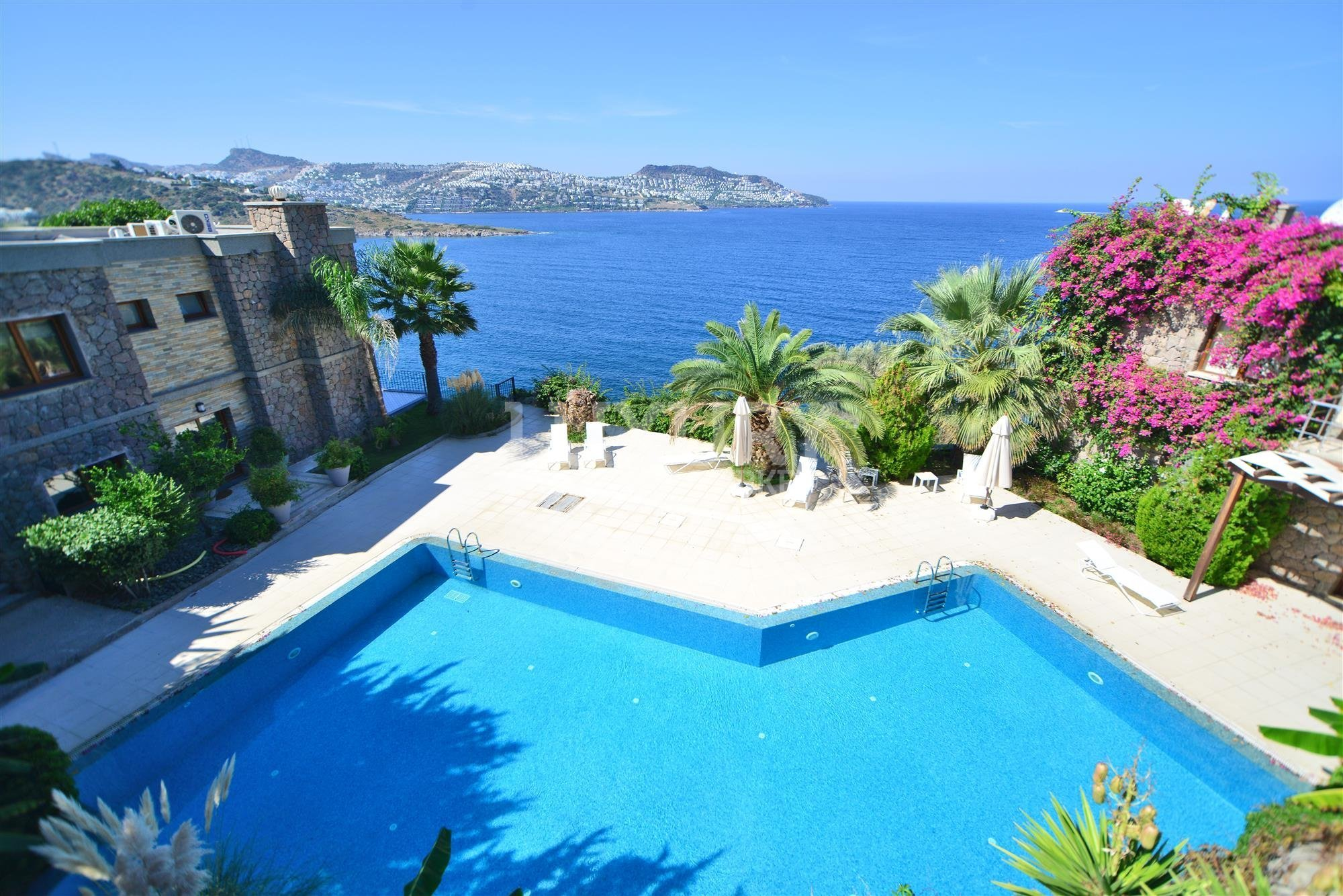 Pool and views from villa