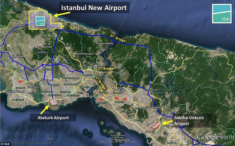 Map of New Istanbul Grand Airport